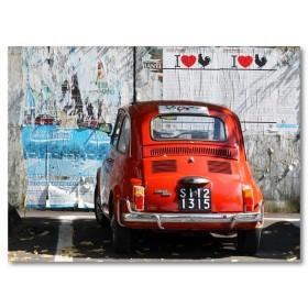 Αφίσα (Fiat 500, κόκκινο, μαύρο, λευκό, άσπρο)